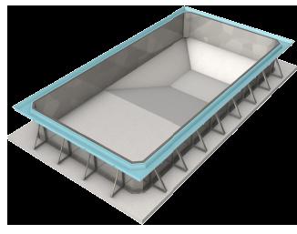 Modelos de piscinas OVERFLOW - Fundo Pirâmide